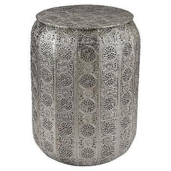 Nickel Pierced Ornate Metal Stool