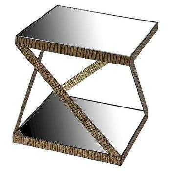 Mirror Top Iron Square Brown Accent Table