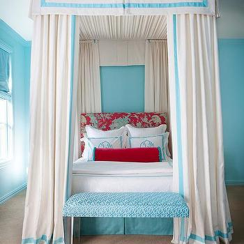 Red and Turquoise Kids Rooms, Contemporary, Girl's Room
