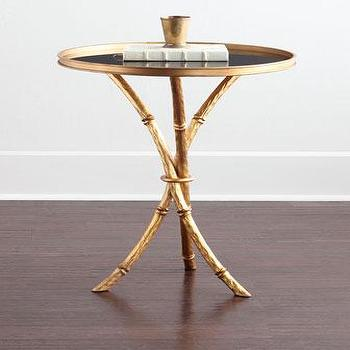 Lonna Gold Black Glass Top Side Table