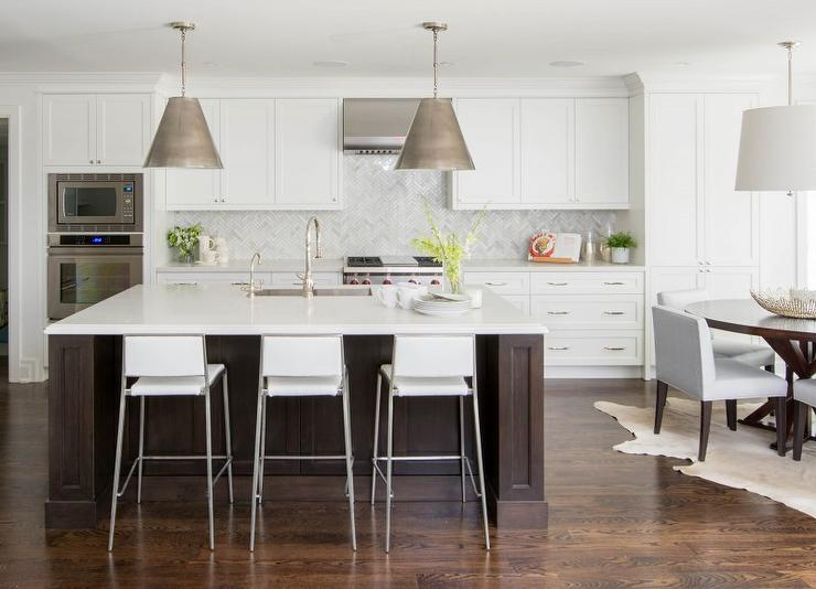 White Kitchen With Espresso Island Transitional Kitchen