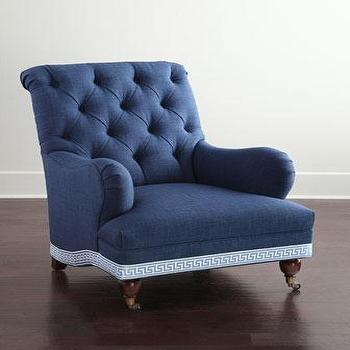 Barclay Butera Baxter Blue Tufted Upholstered Chair
