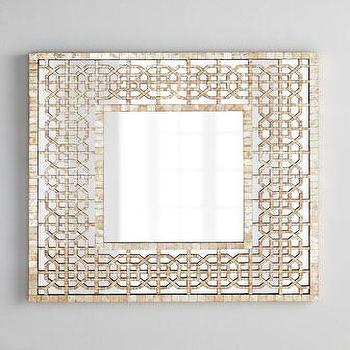 Diedra Capiz Fretwork Handcrafted Capiz Shell Tiles Mirror