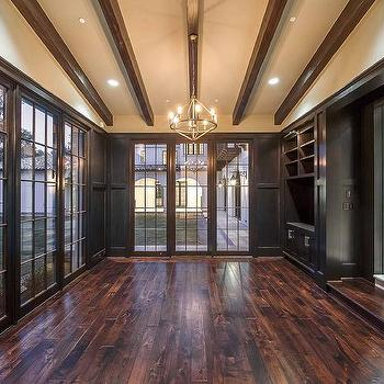 Sunroom with Black Built Ins, Transitional, Living Room