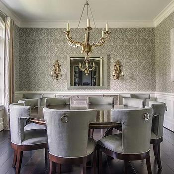 Gray Dining Room with Wainscoting, Transitional, Dining Room