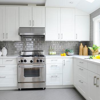 White Kitchen With Grey Subway Tiles Transitional Kitchen