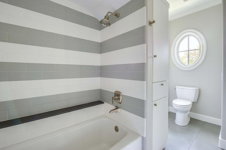 Shower With Striped Tiles Transitional Bathroom