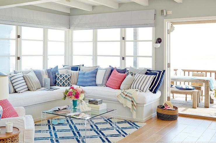 Beadboard Sectional Sofa Cottage Living Room