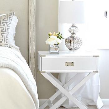 White X Based Campaign Nightstand, Transitional, Bedroom, Behr Wheat Bread