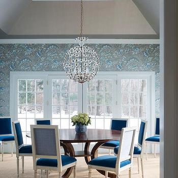 Dining Room with Peacock Blue Velvet Dining Chairs, Transitional, Dining Room