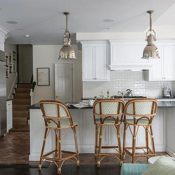 Kitchen with Green French Bistro Stools, Transitional, Kitchen