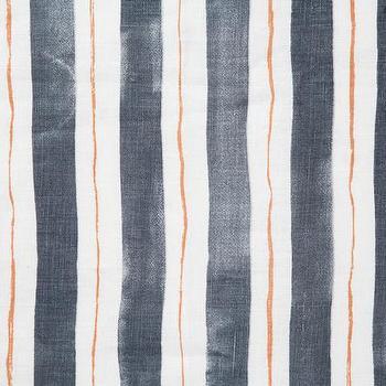 Gray Tangerine Painted Stripe Fabric