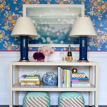 Ivory Console Table with Navy Lamps, Transitional, Living Room