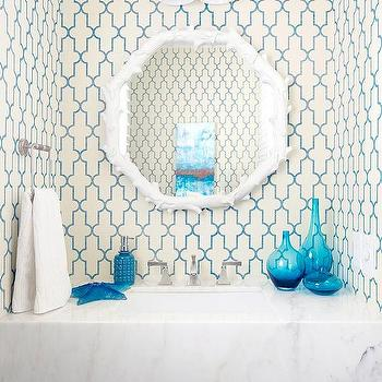 Powder Room with Turquoise Accents, Cottage, Bathroom