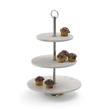 Three Tier Marble Round Dessert Stand