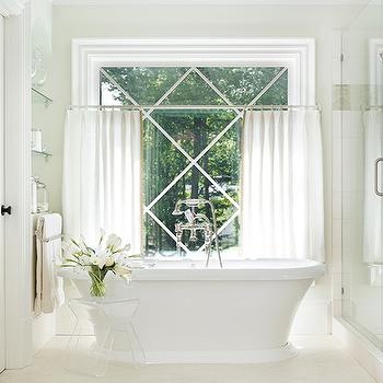 Bathroom with Cafe Curtains, Transitional, Bathroom
