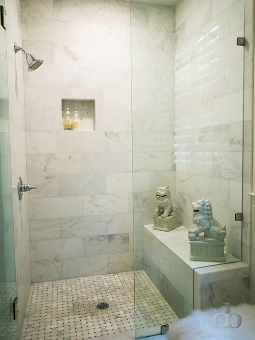 Shower With Foo Dogs Transitional Bathroom