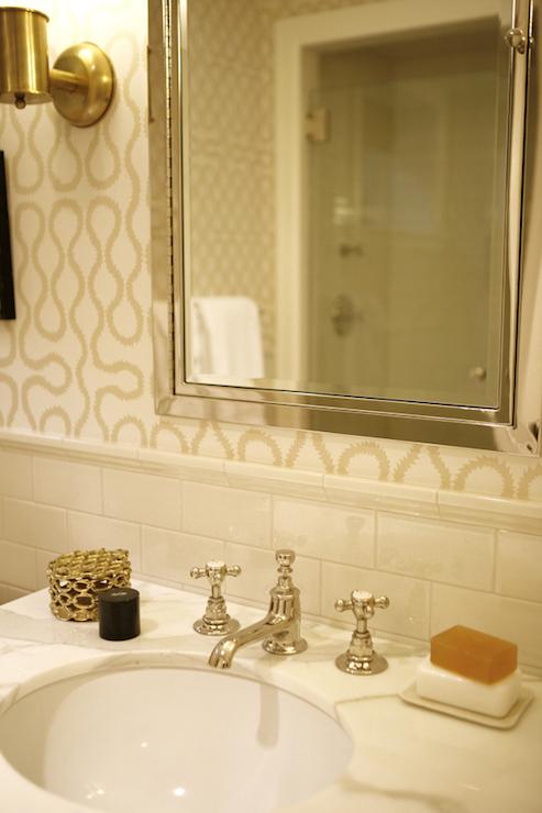 white and beige bathroom ivory subway tile backsplash inset medicine