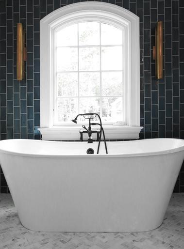 Bathroom With Gray Vertical Subway Tiles Contemporary