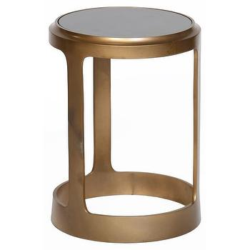 Brass White Granite Top Aluminum Round Accent Table