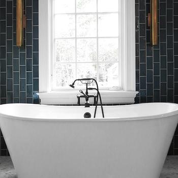 Bathroom with Gray Vertical Subway Tiles, Contemporary, Bathroom