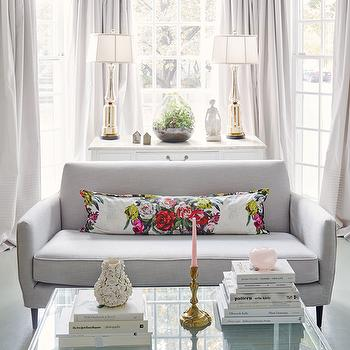 Bay Window with Gray Curtains, Transitional, Living Room