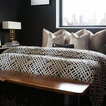 Black Bedrooms with Gold Accents, Contemporary, Bedroom