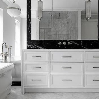 White Bathroom with Black Marble Backsplash, Modern, Bathroom