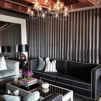 Black and White Sofas, Contemporary, Living Room