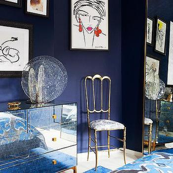 Blue Bedroom with Gold Accents, Contemporary, Bedroom
