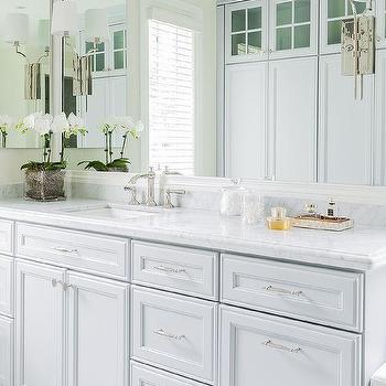 Blue Gray Bathroom Cabinets, Transitional, Bathroom