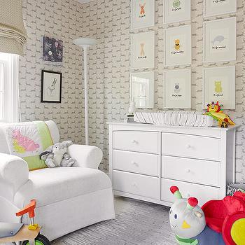 Nursery with Collection of Art Over Changing Table, Transitional, Nursery