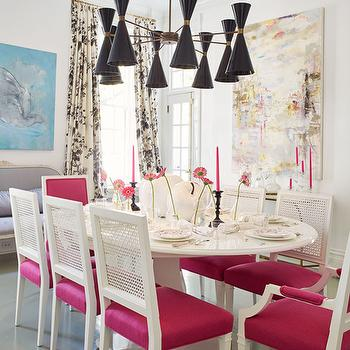 White Oval Dining Table with Hot Pink Dining Chairs, Eclectic, Dining Room