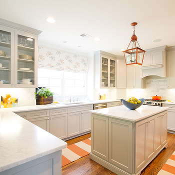 Gray Kitchen with Orange Accents, Contemporary, Kitchen