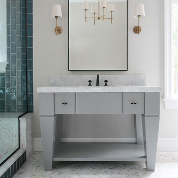 Gray Bathroom Vanity with White Marble Top, Contemporary, Bathroom