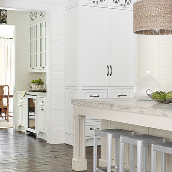 Gray Kitchen Island with Gray Granite Countertop, Transitional, Kitchen