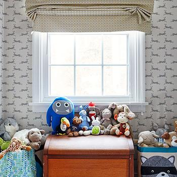 Kids Room with Deer Wallpaper, Transitional, Boy's Room