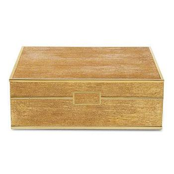 Large Gold Linen Jewelry Box