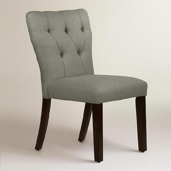 Gray Linen Tufted Gabie Dining Chair