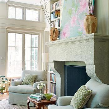 Living Room with Large Fireplace, Transitional, Living Room