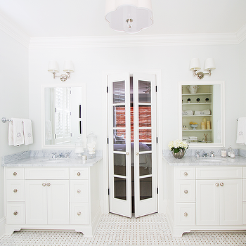 Master Bathroom with Glass Bi Fold Doors, Transitional, Bathroom