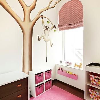Nursery with Monkey in Tree Wall Mural, Contemporary, Nursery