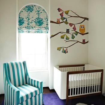 Nursery with Turquoise Stripe Glider, Contemporary, Nursery
