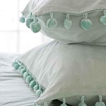 Mint and White Pom Fringe Sham Set