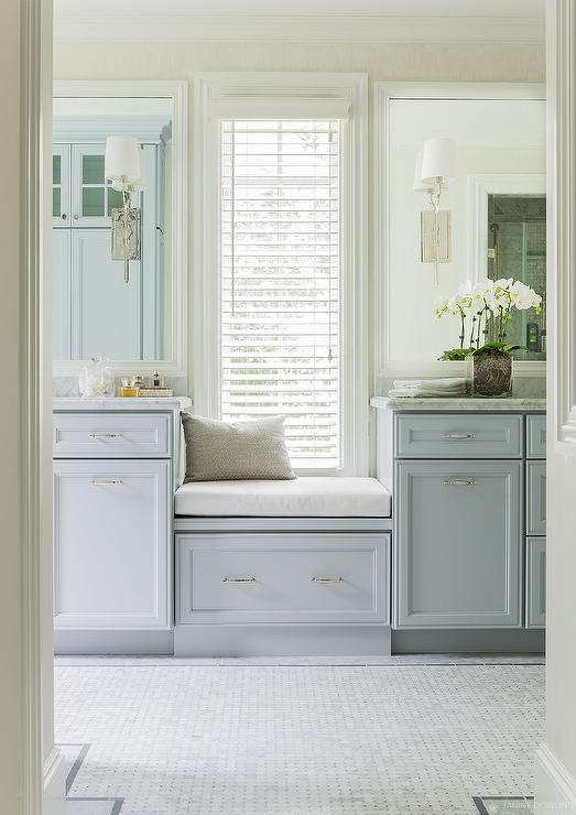 Window Seat Between Washstands Transitional Bathroom