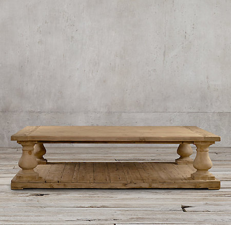 Restoration Hardware Balustrade Salvaged Wood Coffee Table Look for Less