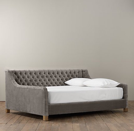 Restoration Hardware Baby Child Devyn Tufted Velvet Daybed Look for Less
