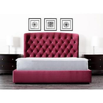 Abbyson Living Presidio Burgundy Tufted Upholstered Bed