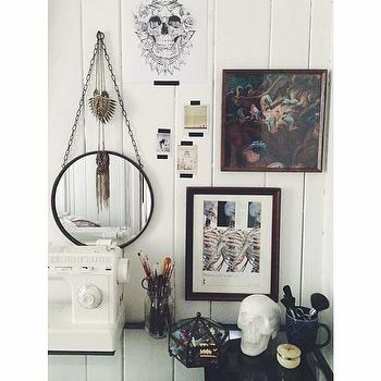 Chain Hung Round Industrial Wall Mirror