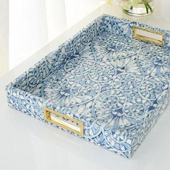 Blue Printed Floral Tray